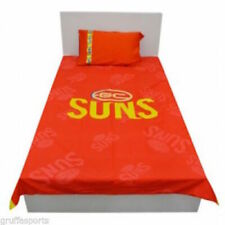 Clearance - Gold Coast Suns AFL Footy Quilt Doona Duvet Cover Pillow Case Set