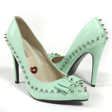 Red Kiss Mint Green Pointy Toe Bow Silver Spike Stiletto High Heel Pump US 5-11
