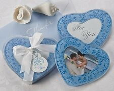 50 Blue or Pink Heart Shaped Glass Photo Coaster Baby Bridal Wedding Favors