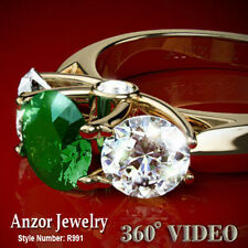 NATURAL COLOMBIAN EMERALD & DIAMONDS RING 14K GOLD STYLE # R991 FREE Shipping.