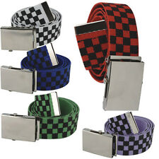 New Mens Ladies Checkered Cotton Canvas Fabric Webbing Belt Buckle Unisex UK