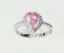 Ladies Ring Soltiare Pink Pear Cut .925 Sterling Silver CZ Cubic Zirconia Band
