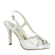 Dyeable White Satin High Heel Sandal Formal Wedding Prom Bridal Shoes Brie