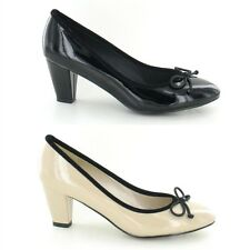 LADIES SPOT ON SLIP ON PATENT BOW TRIM FRONT BLOCK HEEL COURT SHOES F9647