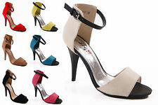 NEW LADIES WOMENS FAUX SUEDE HIGH HEEL EVENING PEEPTOE SANDALS SHOES SIZE 3-8