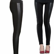 NEW WOMEN'S WET LOOK PVC SIDE PANEL FAUX LEATHER LEGGINGS BOTTOM PANTS SIZE 8-26