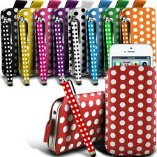 Leather PU POLKA Pull tab Pouch Case W/ Stylus Pen Fits Most Samsung Phones