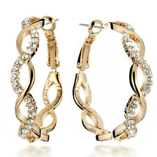 18K Gold Filled Infinity Knot Big Round Hoop Crystal Pierced Earring CCM039