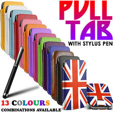 PU LEATHER SLIDE IN PULL TAB POUCH CASE+STYLUS PEN FOR Nokia 603