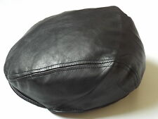 100% REAL LEATHER FLAT CAP HAT MENS OR LADIES BLACK