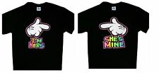 SHE'S MINE I'M HER'S Funny Cartoon Pointing Hands Cool Couples T-Shirt SM To 5XL