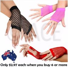 Ladies Fishnet Gloves Short Fingerless Neon Party Dance 70s 80s Womens Glove