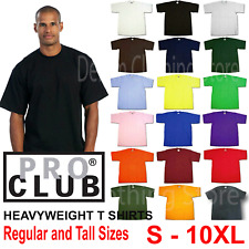 1 NEW PRO CLUB MEN'S BLANK HEAVY WEIGHT CREW NECK SHORT SLEEVE T-SHIRT S - 10XL