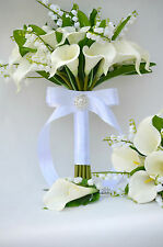 Bridal, Bridesmaid Bouquet, buttonhole/Calla Lily and Lily of the Valley Unique