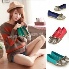 Women's Sweet Casual Striped Bowknot Flat Shoes Round Toe A2037 GBW