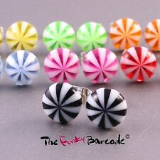 FUNKY CUTE STRIPE CANDY STUD EARRINGS 10MM RAINBOW QUIRKY COLOURFUL PARTY GIFT