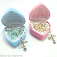 New Baby Boy Girl Child Glass MY FIRST ROSARY Beads Pink Blue Christening Gift