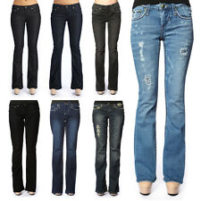 Women's Stitch's Low Rise Jeans Boot Cut Sexy Denim Stretch Trousers Size 0