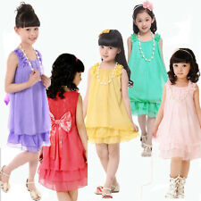 Kid Flower Girls Chiffon Party Pageant Dress Tutu + Pearl Necklace Skirt 4-9Y