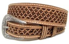 Nocona Western Mens Belt Leather Tooled Square Tapered Brown N2490448