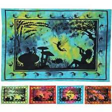 ॐ FAIRY TALE WALL HANGING throw tiedye india boho hippy angel mushroom BEDSPREAD