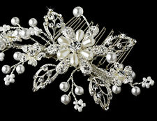 Silver Gold Ivory Crystal Pearl Floral Wedding Prom Bridal Hair Comb Accessory