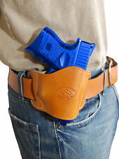 New Barsony Tan Leather Gun Quick Slide Holster Colt, Kimber Compact 9mm 40 45