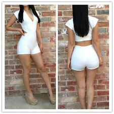 Sexy Women's Fashion Bodysuit Clubwear Bodywear Jumpsuits Rompers White