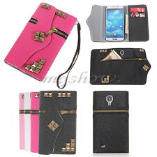 Magnetic Flip Leather Zipper Wallet Case Cover For Samsung Galaxy S5 4 3 Note 2