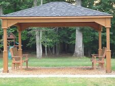 Pavilion 12 x 14 Foot *8 Stain Options* 14 Ft Wood Outdoor Structure Amish Made