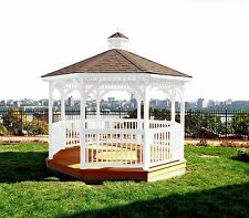 GAZEBO 12 Foot OCTAGON w FLOOR *SOLID WHITE STAIN* 12 Ft Pine Wood Gazebo-USA