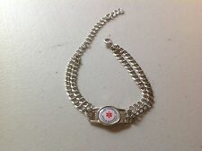 Medical alert bracelets with shoelace charm double link curb chain