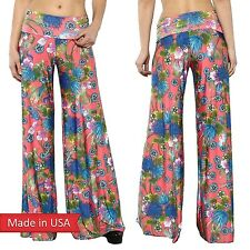 USA Boho Print Wide Leg Gaucho High Waist Foldover Band Long Palazzo Flare Pants