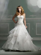 White Sweetheart Applique Organza Ball Gown Lace Up Bridal Gown Wedding Dress