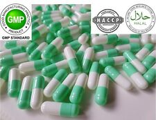 """WHITE-LIGHT GREEN"" Empty GELATIN Pill Capsules Size 1(250mg)""REFILLING POWDER"""