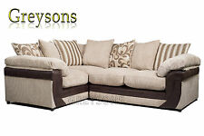LUSH SOFA SETTEE FABRIC CORNER SUITE 2 & 3 SEATER SOFA LOVE SEAT - BEIGE / BROWN