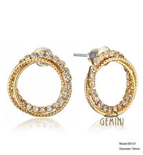 Women Yellow Gold /Rose Gold Round Crystal Stud earrings GM131CA6