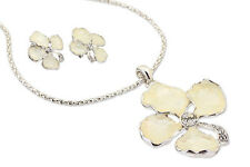 Janeo Mother of Pearl Clover Set Swarovski Elements Crystal Necklace Earrings