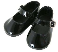 BLACK  PATENT MARY JANE SCHOOL SHOES FOR DOLLS, LOTS OF SIZES ! £6.00