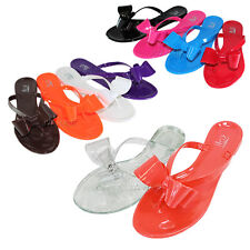 NEW Womens Sandals Flip Flops Bow Jelly Summer Shoes Thong Ribbon Flat Slipper