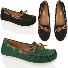 WOMENES LADIES FLAT LOAFERS BOW SUEDE LIGHTWEIGHT OFFICE MOCCASINS BOAT SHOES
