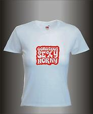 GORGEOUS SEXY HORNY - RED PRINT MENS WOMENS HEN STAG TOWIE JOEY  T SHIRT