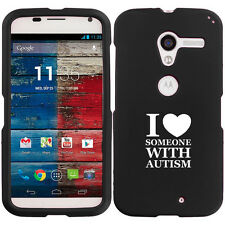 For Motorola MOTO X Rubber Hard Case Cover I Love Heart Someone with Autism