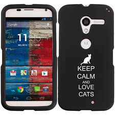 For Motorola MOTO X Snap On 2 Piece Rubber Hard Case Cover Keep Calm Love Cats