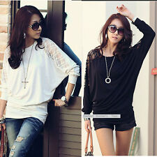 New Women Batwing Long Sleeve Top Dolman Ladies Lace Loose T-Shirt Blouse Top