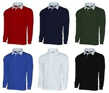 Long Sleeve Rugby Shirt Plain Polo Twill Collar Sweatshirt 280gsm CVC Blend