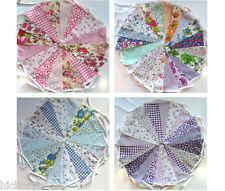 Fabric Bunting Wedding Vintage Shabby & Chic Handmade Floral Rose Pink Blue Lace
