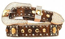 Nocona Western Belt Womens Leather Crystal Concho Bling Brown N3417637