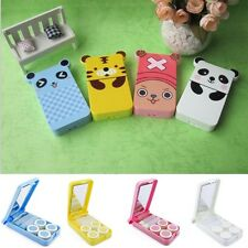 Portable Cute Cartoon Contact Lens Case Box With Mirror Eye Care Kit Holder Set