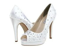 White Black Satin Dyeable Rhinestone Cyndi Bridal Prom High Heel Pump Shoe